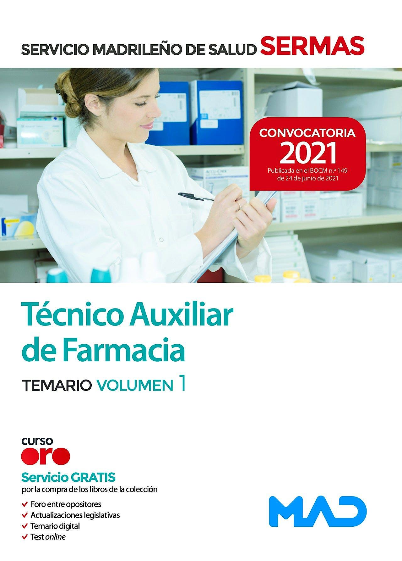 Portada del libro 9788414247594 Técnico/a Auxiliar de Farmacia del Servicio Madrileño de Salud (SERMAS). Temario Volumen 1