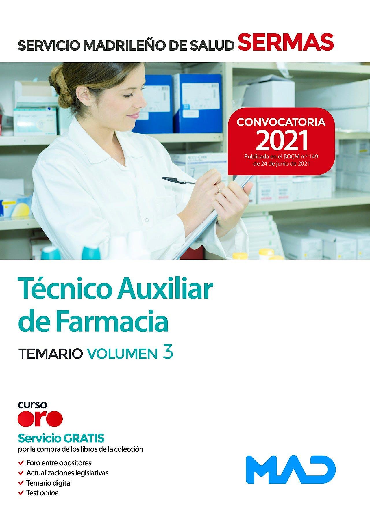 Portada del libro 9788414247624 Técnico/a Auxiliar de Farmacia del Servicio Madrileño de Salud (SERMAS). Temario Volumen 3