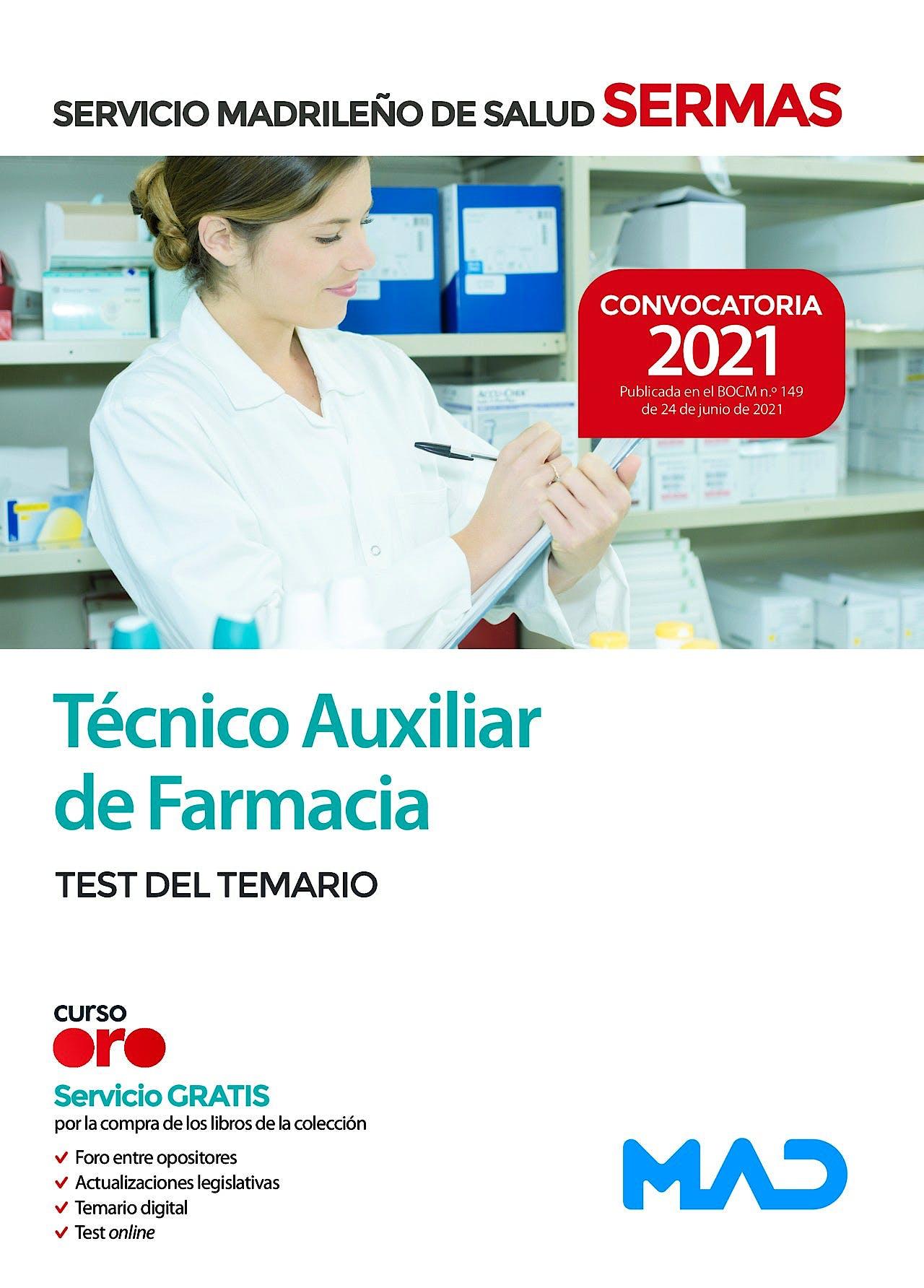 Portada del libro 9788414247631 Técnico/a Auxiliar de Farmacia del Servicio Madrileño de Salud (SERMAS). Test del Temario