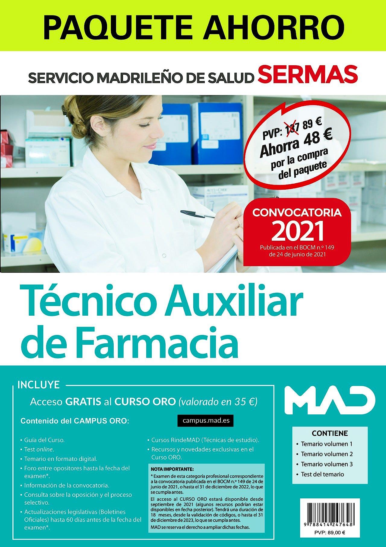 Portada del libro 9788414247648 Paquete Ahorro Técnico/a Auxiliar de Farmacia. Servicio Madrileño de Salud (SERMAS)