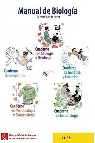 Portada del libro 9788415138990 Manual de Biología. Pack 5 Cuadernos (Bioquímica, Citología y Fisiología, Genética, Microbiología, Inmunología)