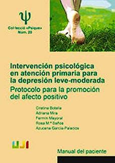 Portada del libro 9788416546541 Intervención Psicológica en Atención Primaria para la Depresión Leve-Moderada