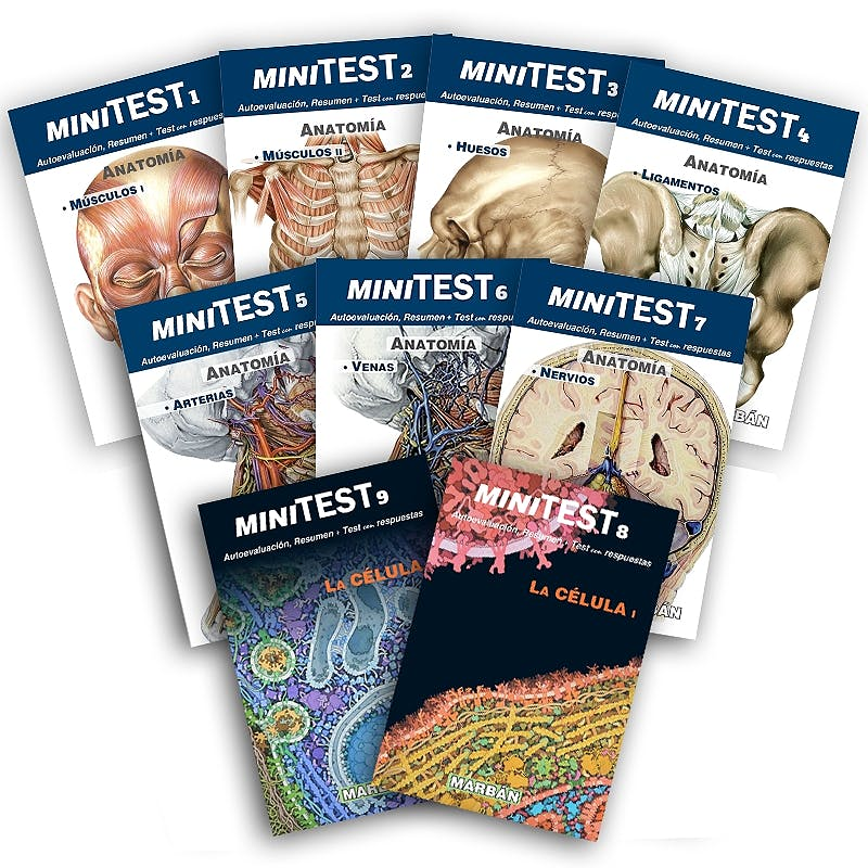 Portada del libro 9788417184414 Pack Mini-Test: Músculos, Huesos, Ligamentos, Arteria, Venas, Nervio, Célula