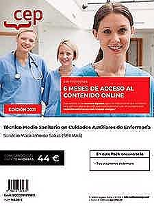 Portada del libro 9788418391637 Pack Teórico + Contenido Online. Técnico Medio Sanitario en Cuidados Auxiliares de Enfermería. Servicio Madrileño de Salud (SERMAS)