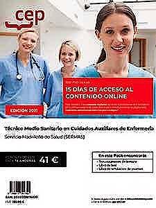 Portada del libro 9788418391750 Pack Libros + Acceso 15 Días Contenido Online. Técnico Medio Sanitario en Cuidados Auxiliares de Enfermería. Servicio Madrileño de Salud (SERMAS)