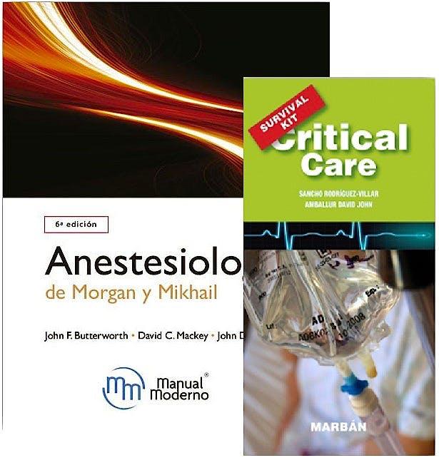 Portada del libro 9788437620329 Anestesiología de Morgan y Mikhail + Critical Care Survival Kit