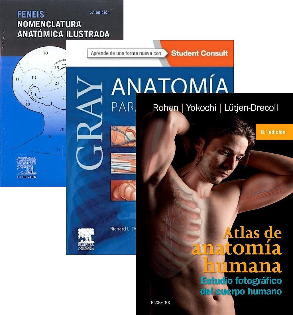 Portada del libro 9788445826850 Lote Gray Anatomía para Estudiantes + Feneis Nomenclatura Anatómica Ilustrada + Atlas de Anatomía Humana