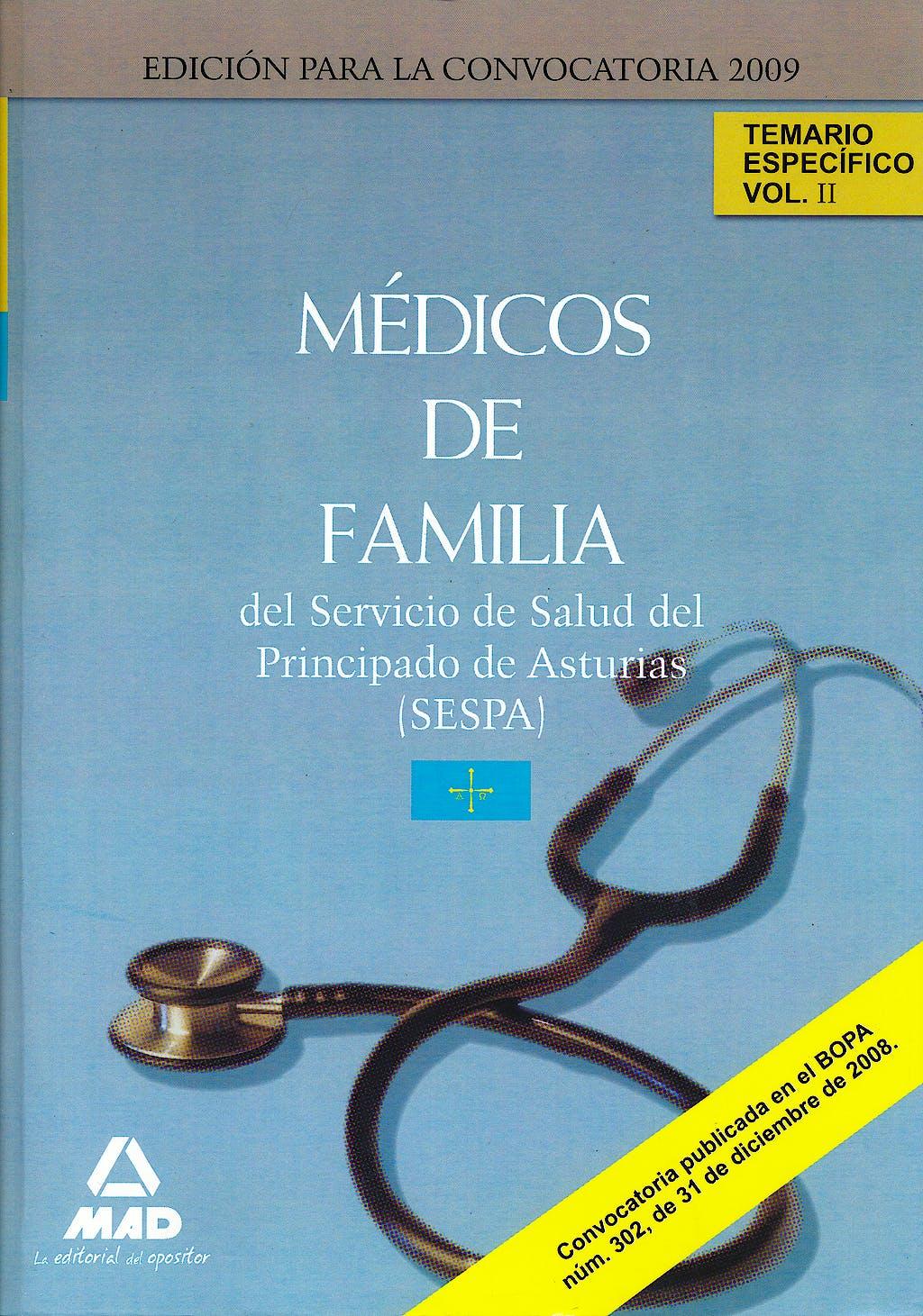 Portada del libro 9788467612998 Medicos de Familia del Servicio de Salud del Principado de Asturias (Sespa). Temario Especifico, Vol. II