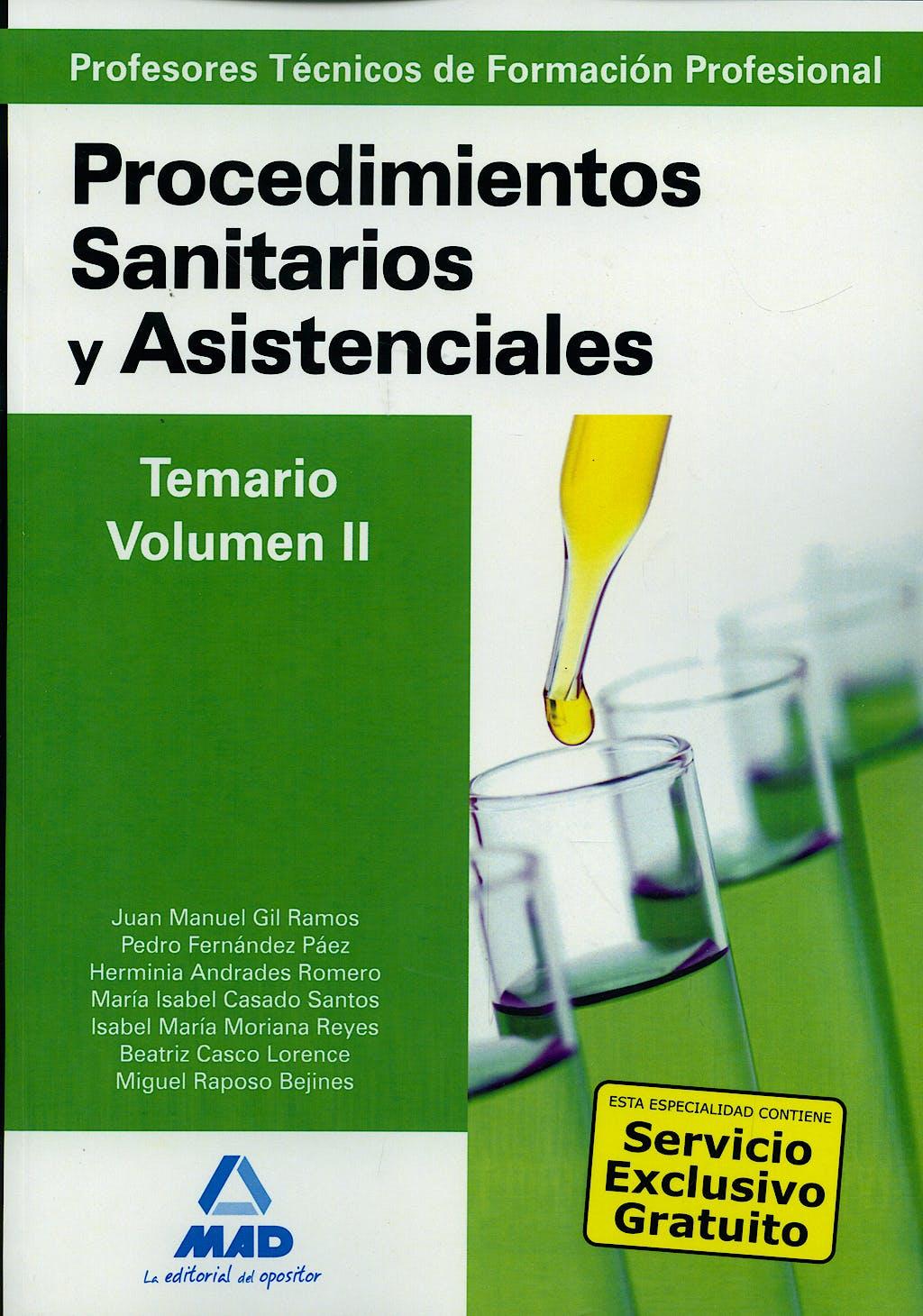 Portada del libro 9788467617283 Profesores Tecnicos de Formacion Profesional. Procedimientos Sanitarios y Asistenciales. Temario, Vol. II