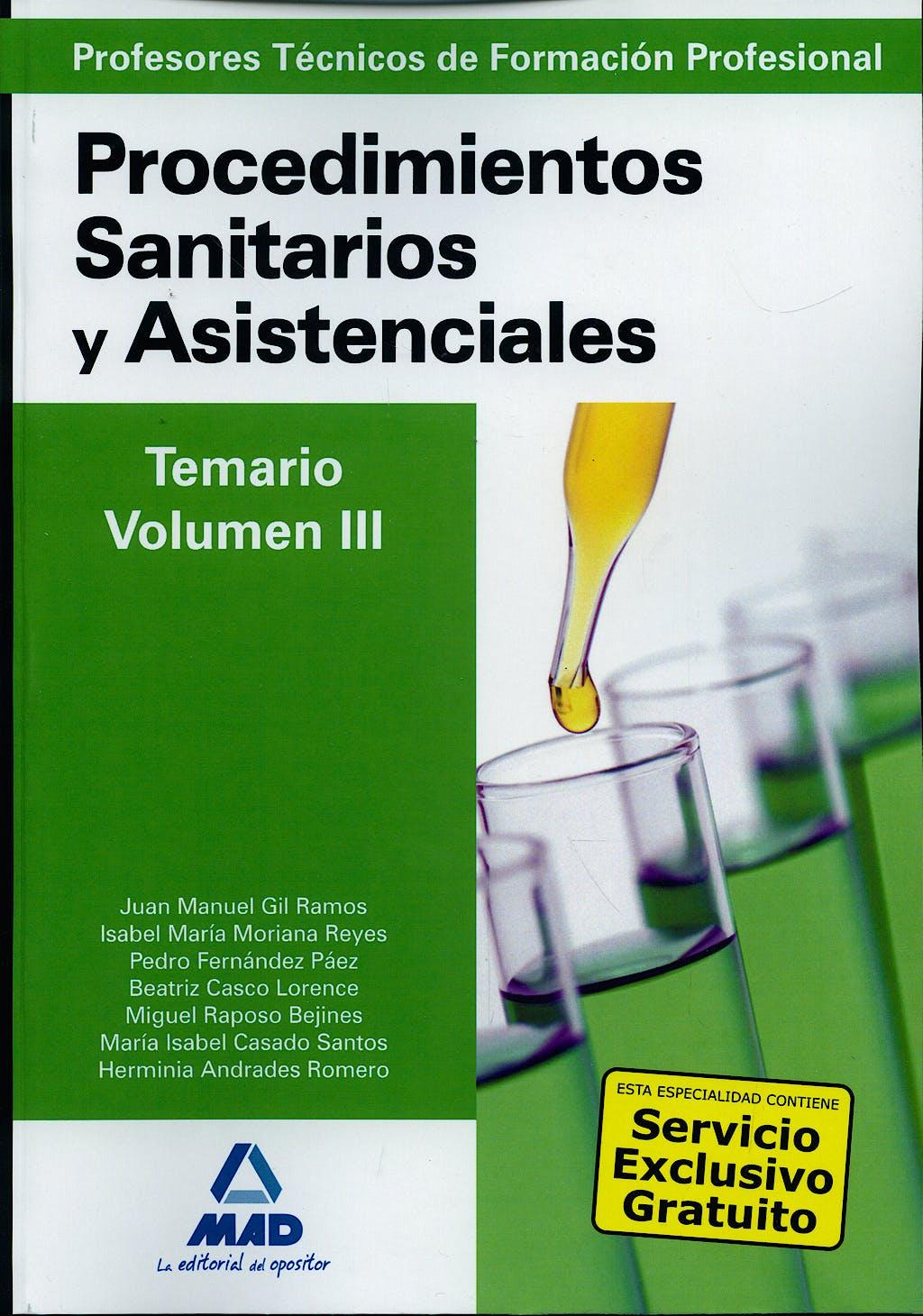 Portada del libro 9788467617290 Profesores Técnicos de Formación Profesional. Procedimientos Sanitarios y Asistenciales. Temario, Vol. III