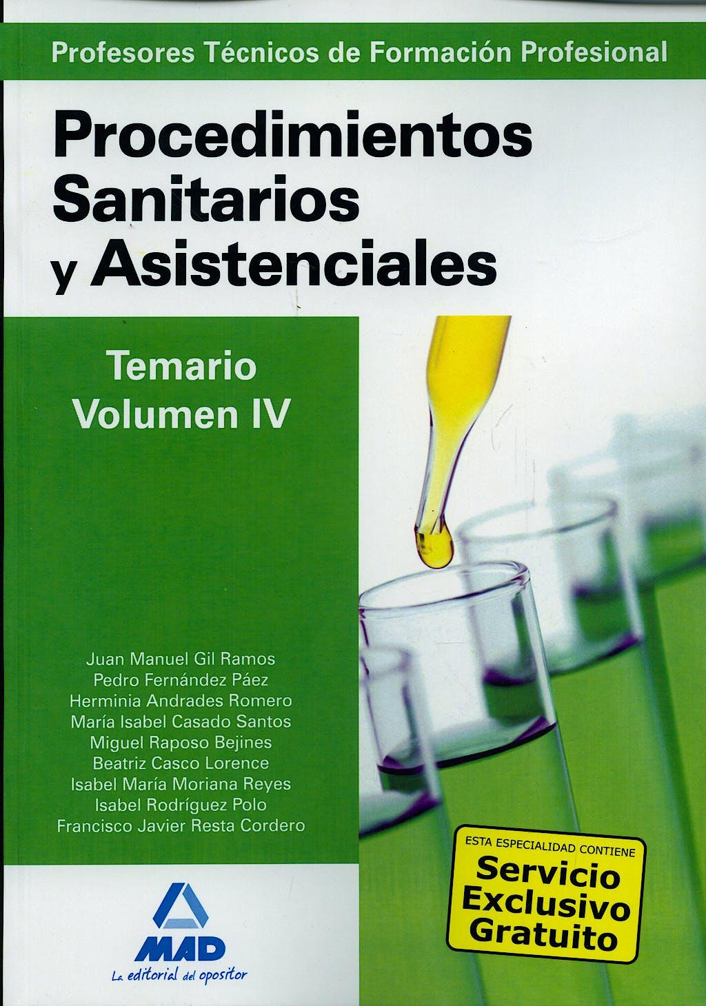 Portada del libro 9788467617306 Procedimientos Sanitarios y Asistenciales. Temario, Vol Iv (Profesores Tecnicos de Formacion Profesional)