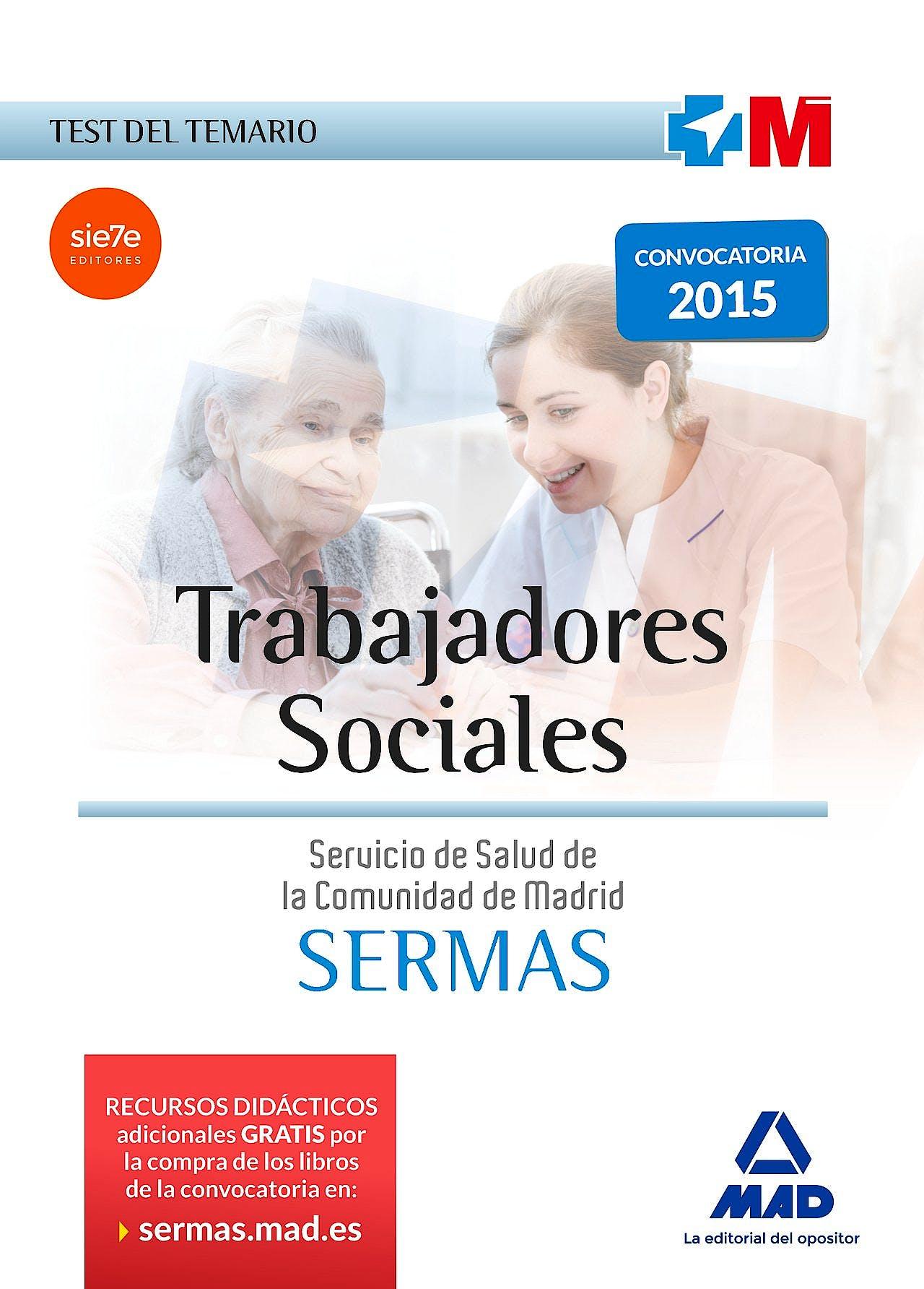 Portada del libro 9788467652345 Trabajadores Sociales Servicio de Salud de la Comunidad de Madrid (SERMAS). Test