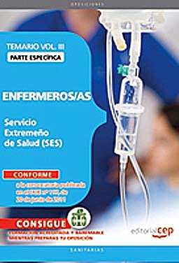 Portada del libro 9788468123240 Enfermeros/as Servicio Extremeño de Salud (Ses). Temario Parte Especifica, Vol. III