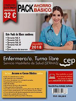 Portada del libro 9788468174341 Paquete Ahorro Básico Enfermero/a Turno Libre Servicio Madrileño de Salud (SERMAS) (Total 6 libros e Incluye Acceso al Curso Básico Online)