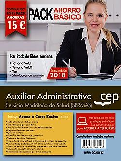 Portada del libro 9788468199542 Paquete Ahorro Básico Auxiliar Administrativo Servicio Madrileño de Salud (SERMAS) (Total 4 libros e Incluye Acceso al Curso Básico Online)