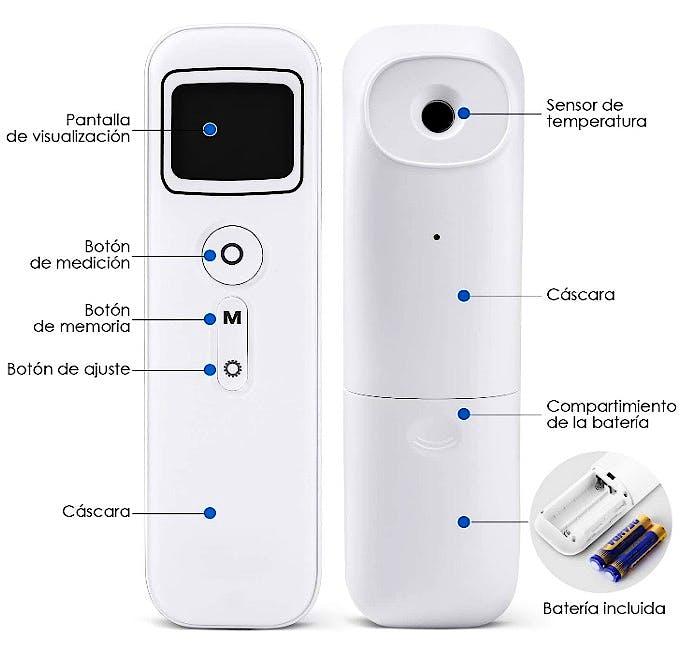 Termómetro Digital BIOLAND con Sensor Infrarrojo y Alarma de Fiebre con 32 Memorias