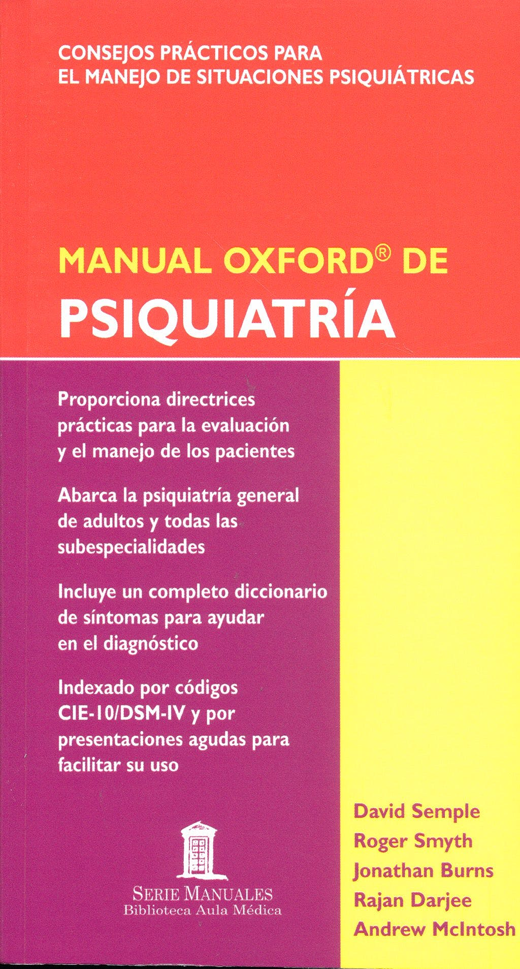Portada del libro 9788478854301 Manual Oxford de Psiquiatria