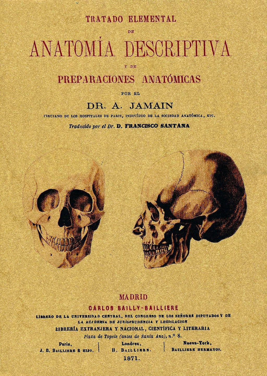 Portada del libro 9788490010167 Tratado Elemental de Anatomia Descriptiva y de Preparaciones Anatomicas