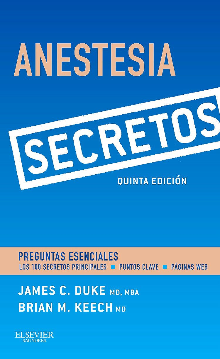 Portada del libro 9788490229798 Anestesia. Secretos