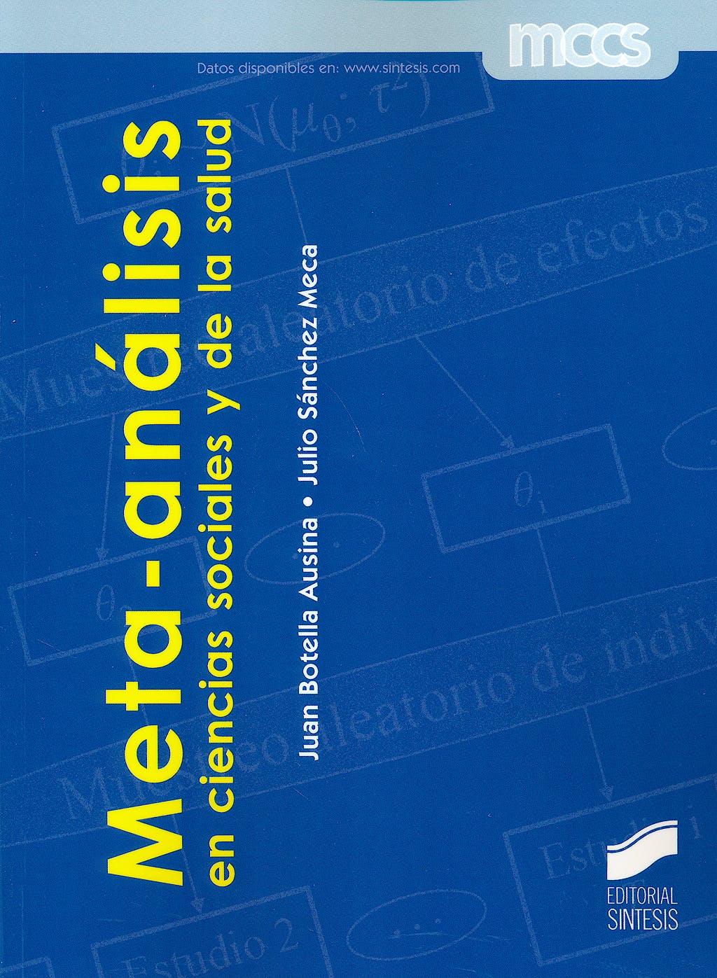 Portada del libro 9788490771242 Meta-Analisis en Ciencias Sociales y de la Salud