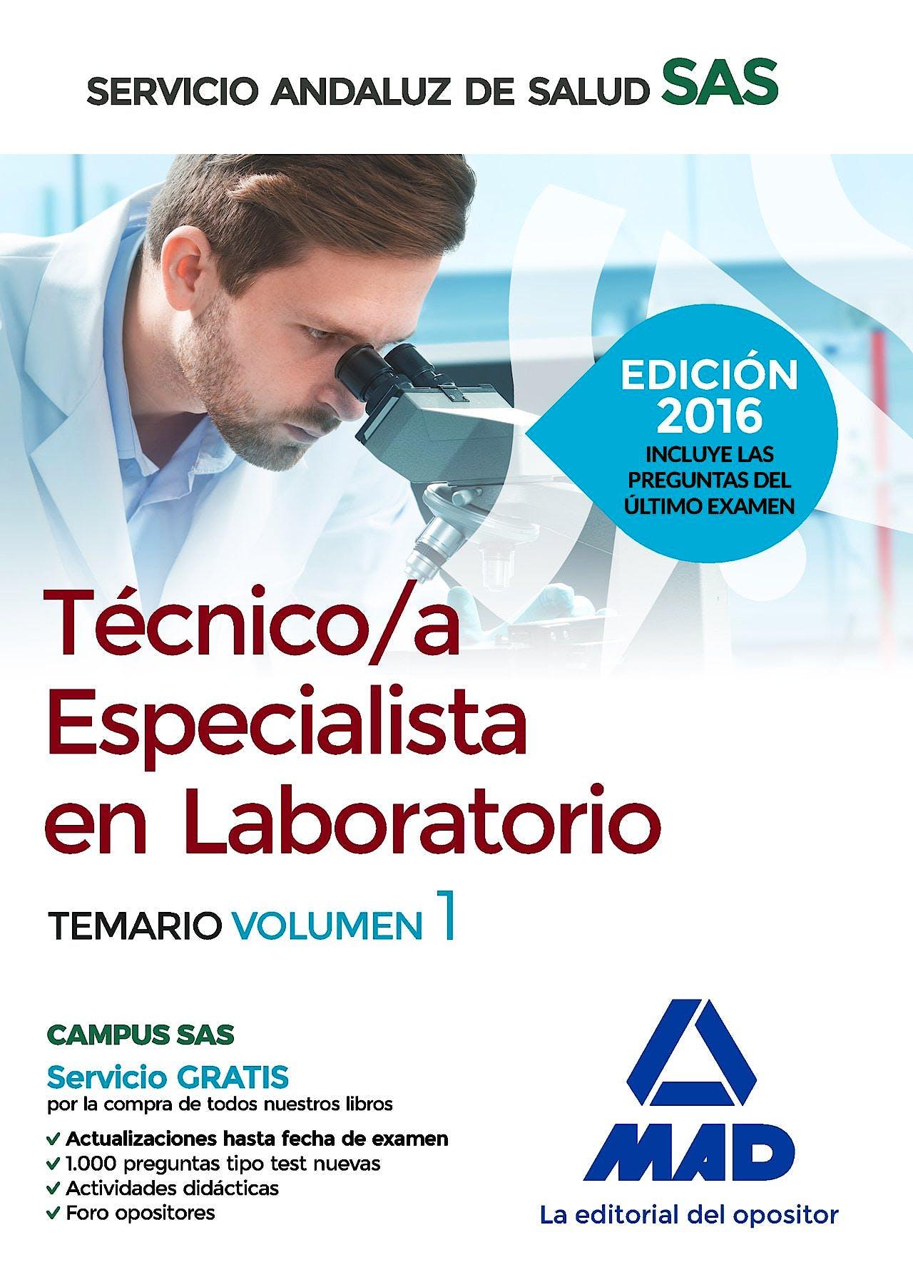 Portada del libro 9788490939451 Tecnico/a Especialista en Laboratorio Servicio Andaluz de Salud (SAS). Temario, Vol. 1