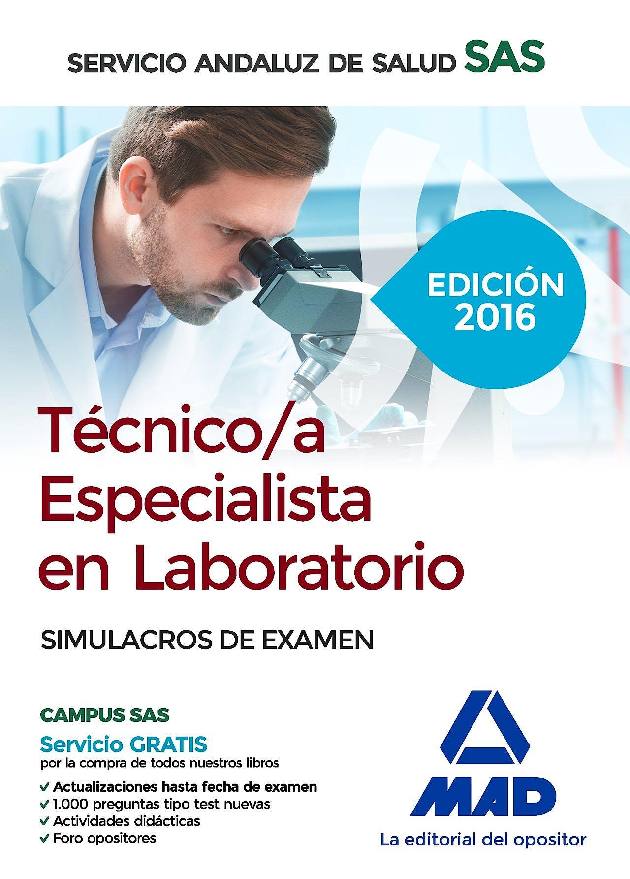Portada del libro 9788490939482 Tecnico/a Especialista en Laboratorio Servicio Andaluz de Salud (SAS). Simulacros de Examen