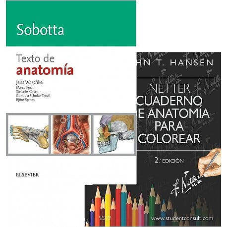 Portada del libro 9788491136156 Lote Netter Cuaderno de Anatomía para Colorear + Sobotta Texto de Anatomía