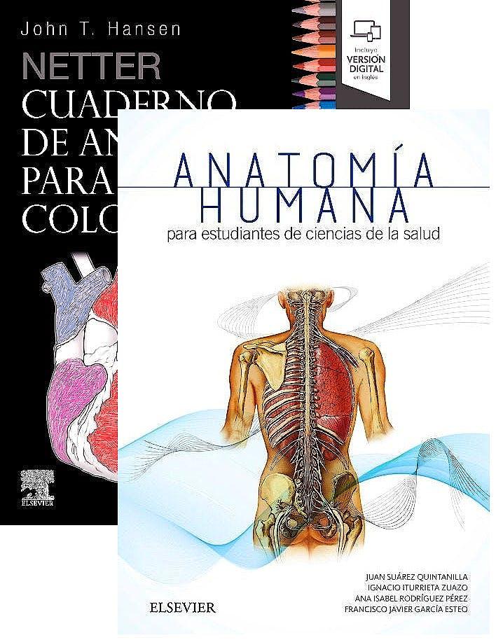 Portada del libro 9788491136163 Lote Netter Cuaderno de Anatomía para Colorear + Anatomía para Estudiantes de Ciencias de la Salud