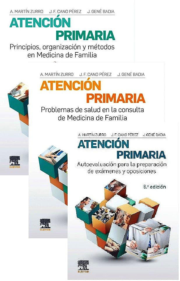 Portada del libro 9788491136903 Lote MARTÍN-ZURRO Atención Primaria: Problemas de Salud… + Principios, Organización y Métodos… + Autoevaluación para la preparación… (3 Vols.)