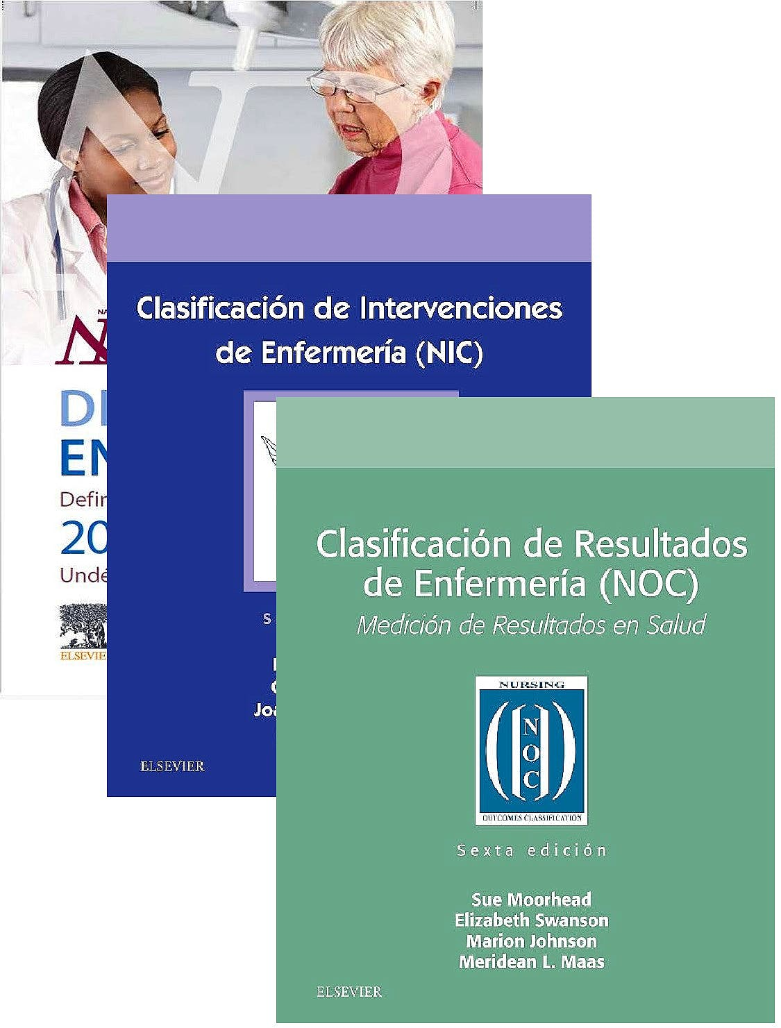 Portada del libro 9788491136941 Lote NANDA Diagnósticos Enfermeros 2018-2020 + NIC Clasificación de Intervenciones + NOC Clasificación de Resultados (Enfermería NNN)