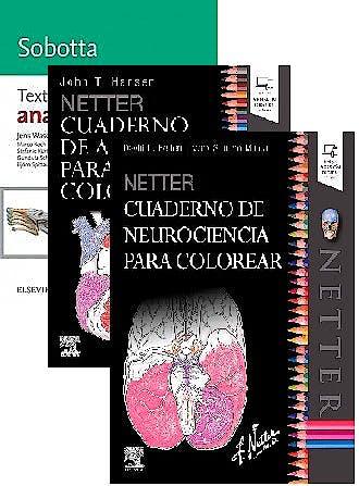 Portada del libro 9788491137191 Lote Netter Cuaderno de Neurociencia para Colorear + Netter Cuaderno de Anatomía para Colorear + Sobotta Texto de Anatomía
