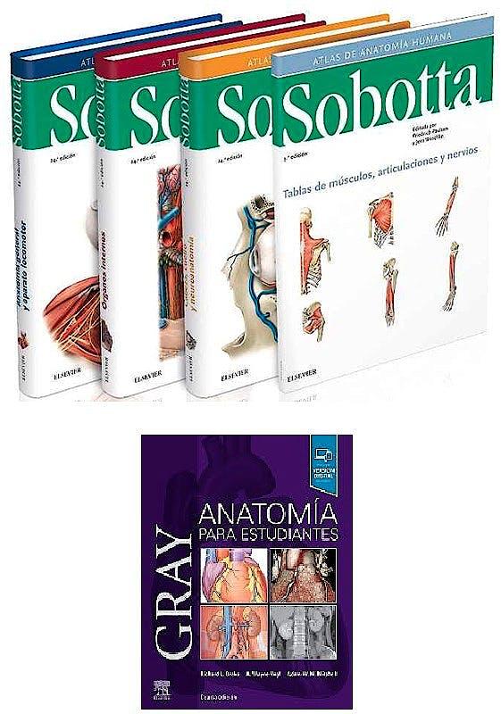 Portada del libro 9788491138648 Lote Sobotta Atlas de Anatomía Humana, 3 Vols. + Gray Anatomía para Estudiantes