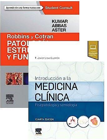Portada del libro 9788491138693 Lote Robbins y Cotran Patología Estructural y Funcional + Introducción a la Medicina Clínica. Fisiopatología y Semiología