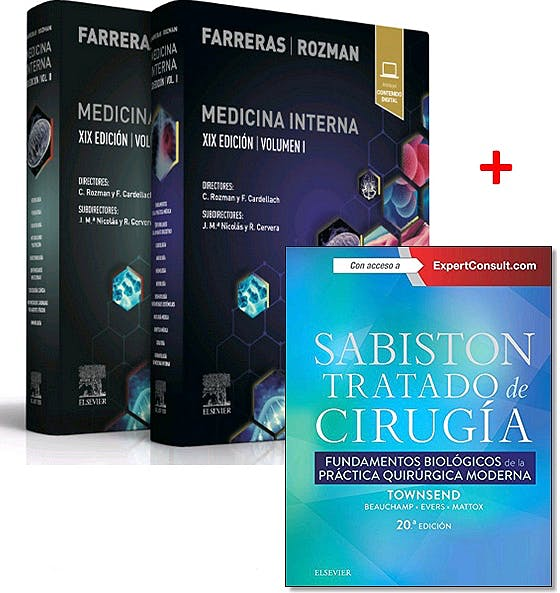 Portada del libro 9788491138778 Lote FARRERAS y ROZMAN Medicina Interna, 2 Vols. + SABISTON Tratado de Cirugía