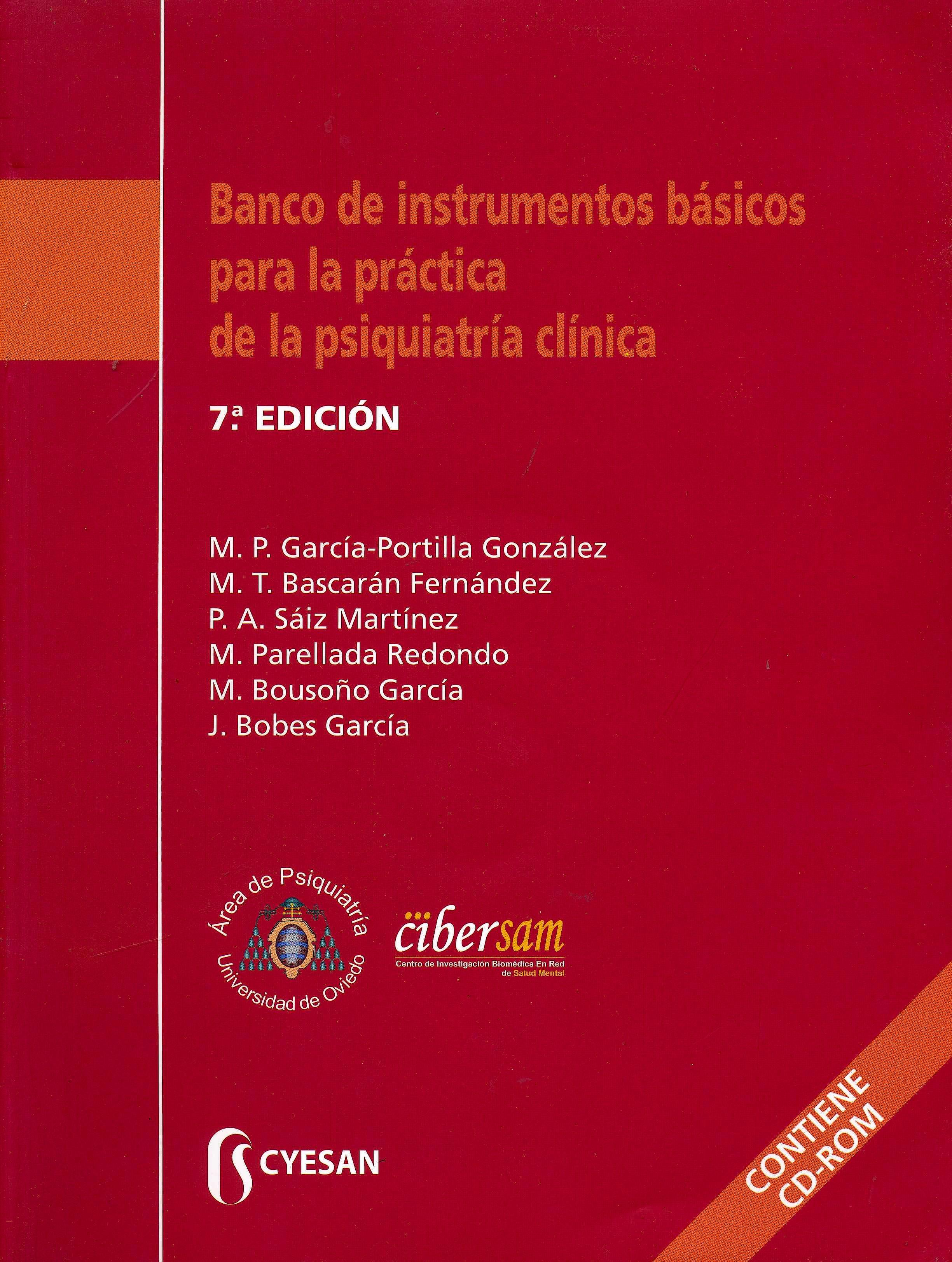 Portada del libro 9788493914257 Banco de Instrumentos Básicos para la Práctica de la Psiquiatría Clínica + CD-ROM