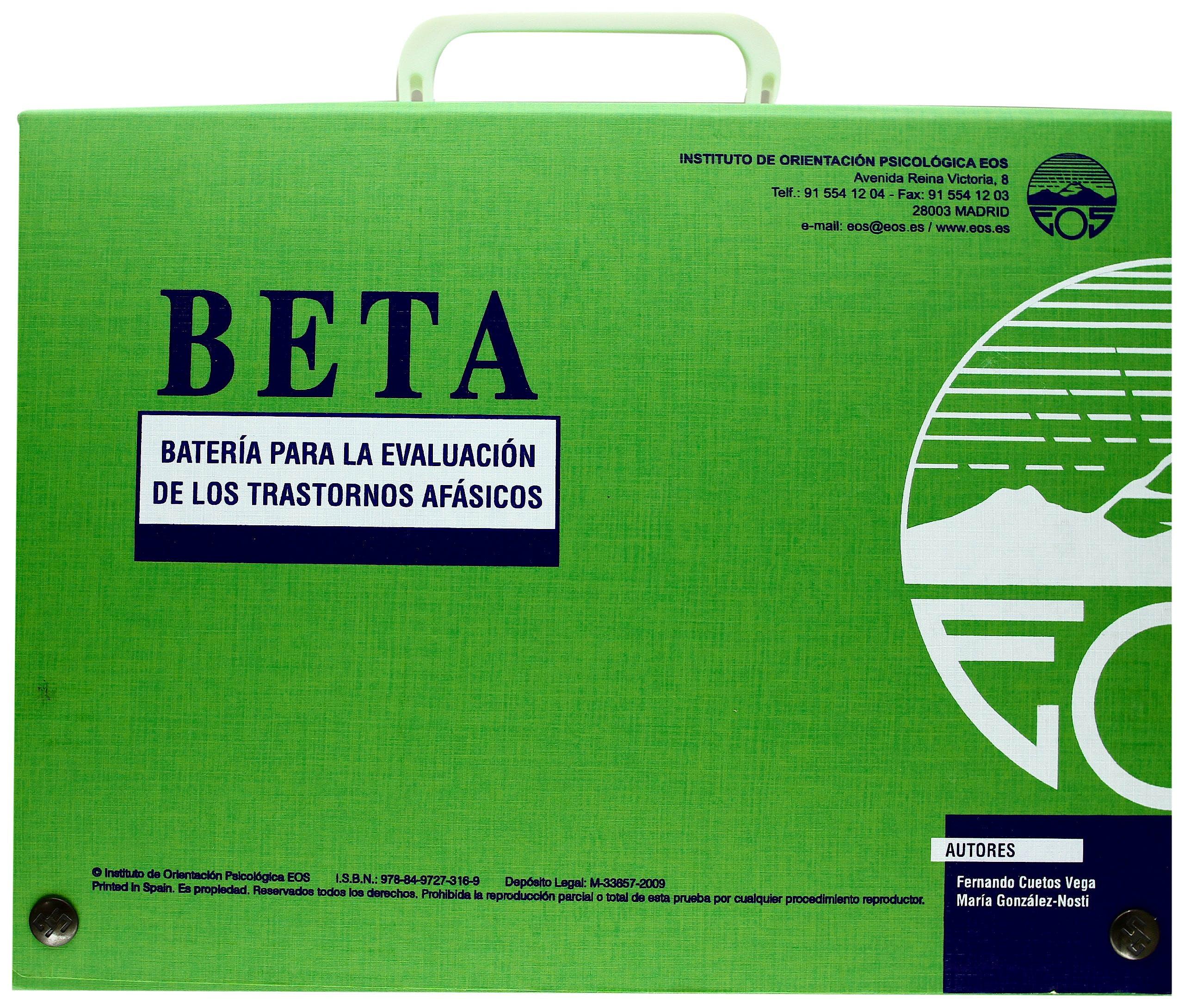 Portada del libro 9788497273169 Beta. Bateria para la Evaluacion de los Trastornos Afasicos