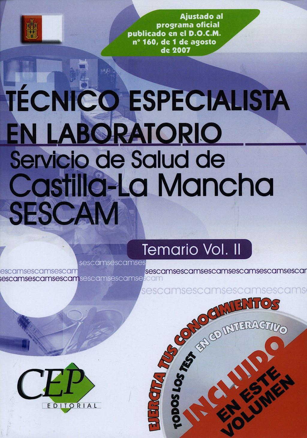 Portada del libro 9788498631968 Temario Ii. Oposiciones Técn. Especialista Laboratorio Sescam + Cd-Rom