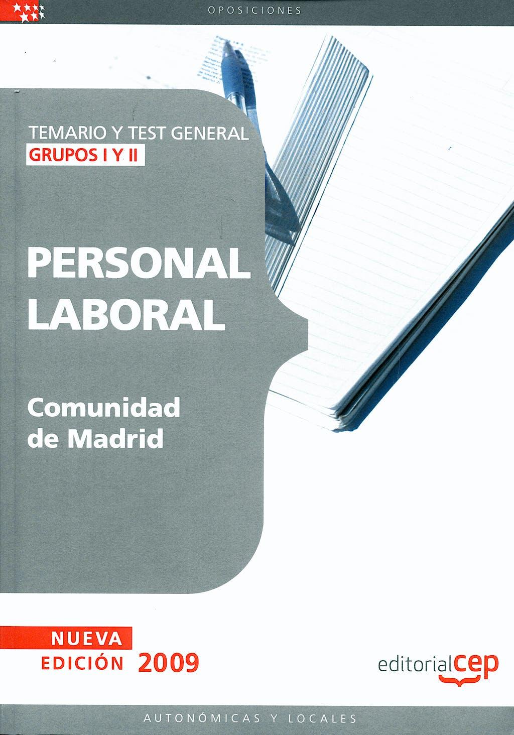 Portada del libro 9788499029948 Grupos I y II, Personal Laboral, Comunidad de Madrid. Temario y Test General
