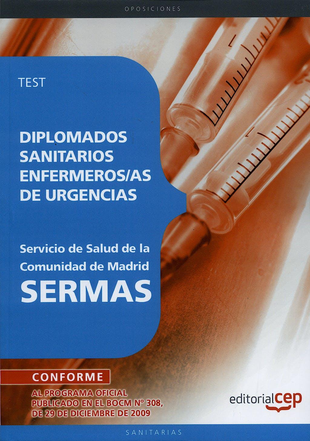 Portada del libro 9788499375038 Diplomados Sanitarios Enfermeras/os de Urgencias, Sermas. Test