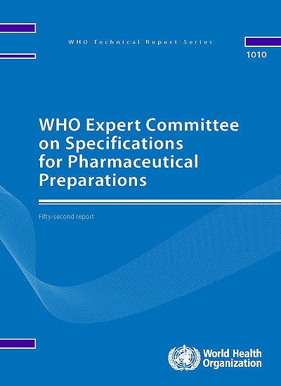 Portada del libro 9789241210195 WHO Expert Committee on Specifications for Pharmaceutical Preparations (WHO Technical Report Series, Nº 1010)