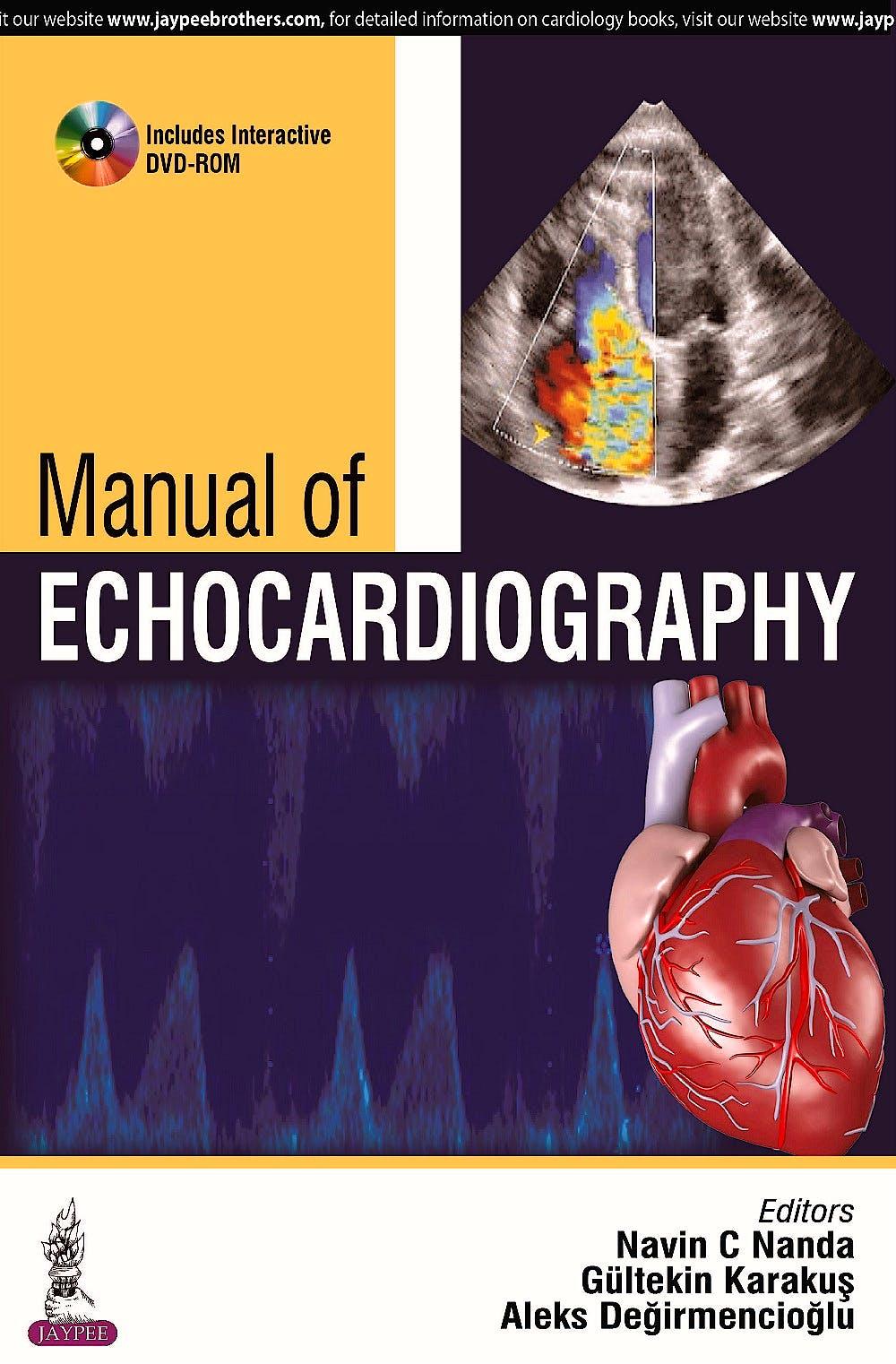 Portada del libro 9789351525189 Manual of Echocardiography + DVD